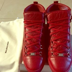 Men's Red Leather Balenciaga Sneakers